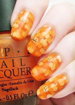 可爱圆形手绘橙色2014万圣节南瓜南瓜南瓜美甲图片