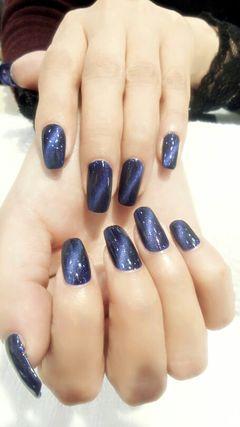 方形蓝色光疗高贵猫眼美甲图片
