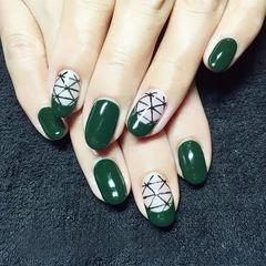 绿色简约圆形简约欧美风线条甲美甲图片
