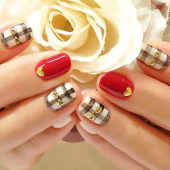 方圆形咖啡色白色红色可爱简约2015春节百搭爱心格纹美甲图片