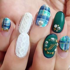 白色绿色日式圆形蓝绿学院风格纹毛衣甲美甲图片