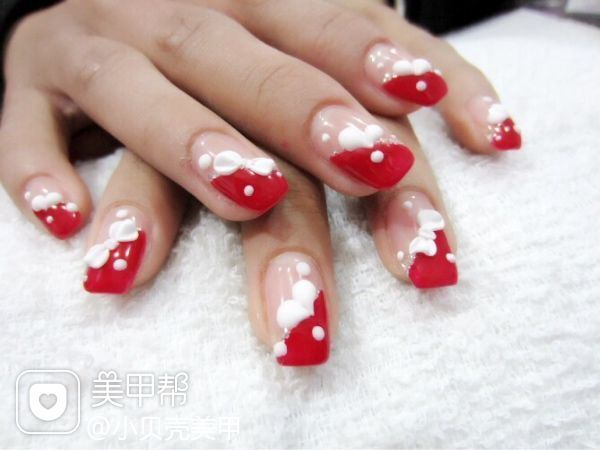 红色粉色白色法式新娘简约日式可爱手绘雕花光疗创意本命年一定要做的哦…~美甲图片