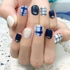 日式黑色白色蓝色圆形日系学院风格纹毛衣甲美甲图片