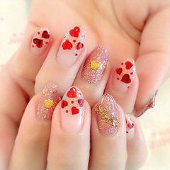 圆形日式粉色红色日式爱心闪粉款美甲图片