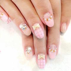 粉色日式圆形粉色系钻饰格纹美甲图片