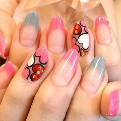 粉色法式圆形甜蜜法式爱心款美甲图片