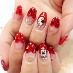 法式红色圆形白雪公主爱心法式美甲图片