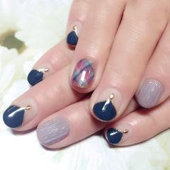 日式蓝色灰色法式圆形果冻格纹毛衣甲美甲图片