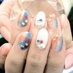 日式手绘蓝色白色圆形粉色淡雅格纹日系款美甲图片