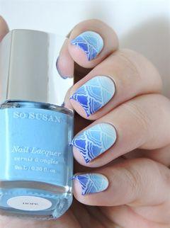 渐变蓝色方形海蓝渐变水波纹美甲图片