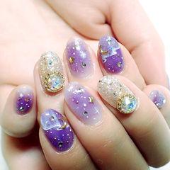 紫色日式圆形手绘紫晕帘幕星月款美甲图片