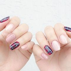 粉色红色手绘方圆形英伦风格纹红黑格纹毛衣款美甲图片