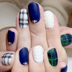 格纹毛衣甲蓝色白色绿色日式圆形编织毛衣美甲美甲图片