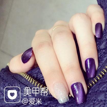 纯色猫眼方圆形紫色猫眼石美甲美甲图片
