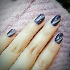 紫圆形简约简约猫眼美甲美甲图片