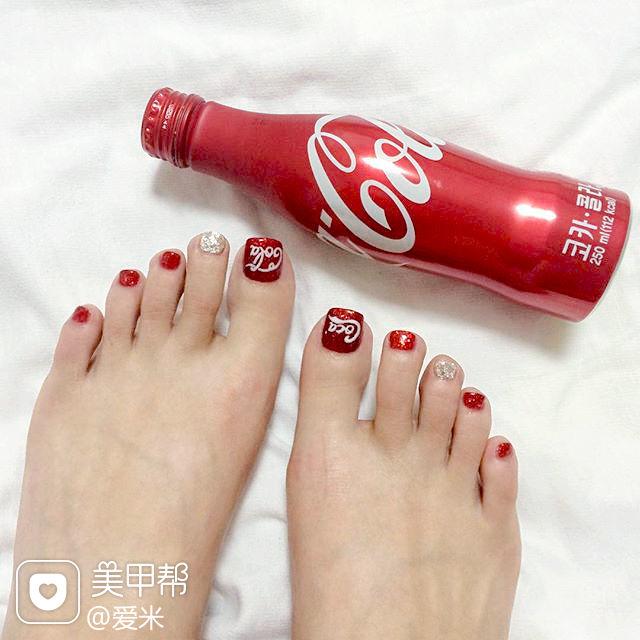 手绘红色可口可乐脚韩系脚甲专题红色脚甲可乐美甲美甲图片