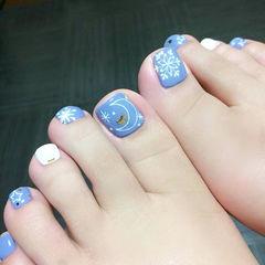 手绘星月蓝色脚日系脚甲美甲图片