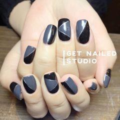 方圆形简约韩式黑色灰色美甲图片