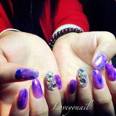 圆形日式韩式紫色美甲图片