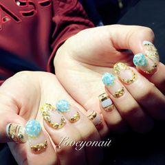 圆形日式韩式蓝色美甲图片