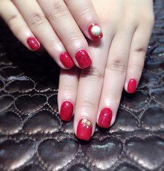 方形简约韩式红色黑色美甲图片