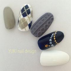 白色蓝色毛衣格纹手绘秋冬编织毛衣美甲美甲图片