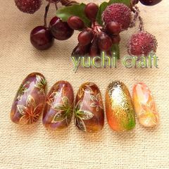 日式枫叶秋冬手绘和风甲片美甲图片