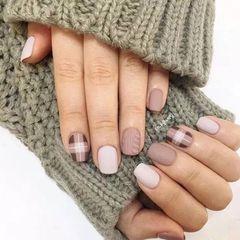 毛衣格纹手绘秋天冬天大地色美甲美甲图片