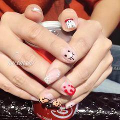 万圣节红色黑色手绘笑脸可爱南瓜万圣节款美甲图片