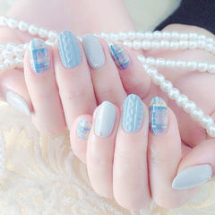 蓝色格纹毛衣冬天手绘编织毛衣美甲美甲图片