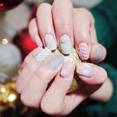 毛衣毛绒格纹粉色手绘冬天编织毛衣美甲美甲图片