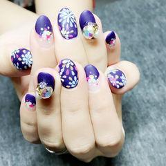 日式紫色磨砂钻饰手绘彩色美甲图片