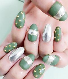 镜面绿色磨砂钢珠日式美甲图片