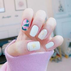 白色迷彩粉色绿色手绘方圆形星星美甲图片