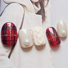 红色黑色白色格纹毛衣手绘甲片冬天英伦风编织毛衣美甲美甲图片