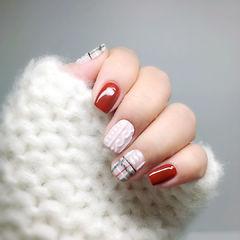 红色粉色毛衣格纹冬天手绘编织毛衣美甲美甲图片