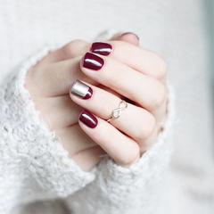 红色银色拼色简约显手白专题达人崔塔塔哒夫人美甲图片