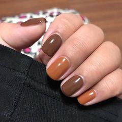 橙色陶土棕跳色纯色系美甲美甲图片
