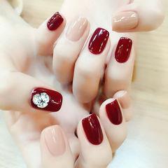 酒红色红色裸色简约方形钻韩式17新年款红色镶钻美甲店铺热门爆款17年度排行榜达人崔塔塔哒夫人美甲图片