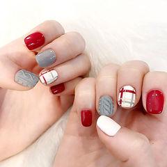 方圆形红色灰色白色格纹毛衣编织毛衣美甲美甲图片