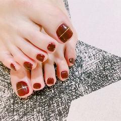 酒红色红色金银线脚甲简约显白韩系脚甲酒红色美甲显手白专题17年度排行榜达人崔塔塔哒夫人美甲图片