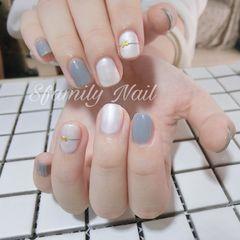 方圆形日式灰色白色简约上班族高级灰美甲图片