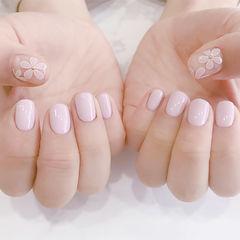 粉色手绘花朵简约淑女上班族上班族专题粉色系美甲美甲图片