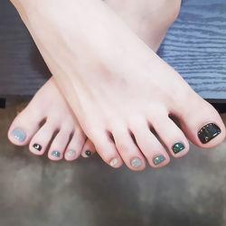 脚部黑色灰色绿色跳色跳色美甲店铺热门爆款17年度排行榜美甲图片
