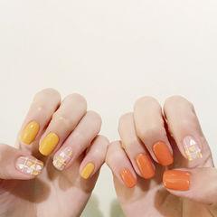 南瓜色黄色格子亮片韩式美甲图片