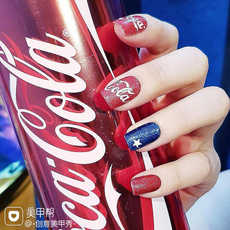 蓝色红色白色手绘星星可乐可乐美甲美甲图片