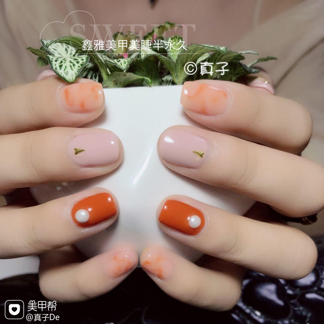 方圆形简约橙色裸色南瓜色显白显手白专题南瓜色美甲美甲图片