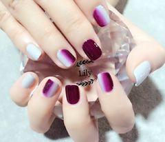 方圆形渐变紫色灰色Lilyjuan竖向渐变美甲图片