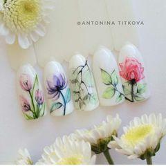 手绘雕花圆形日式花朵欧美美甲大师作品美甲图片