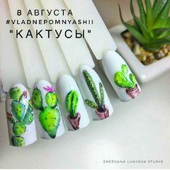 手绘圆形绿色夏天仙人掌欧美美甲大师作品图片美甲图片